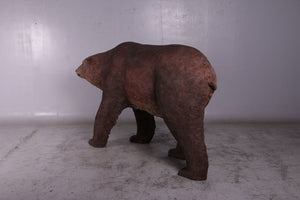 Brown Grizzly Bear Walking Life Size Statue - LM Treasures