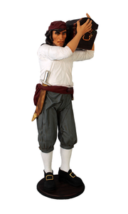 Pirate Captain With Chest Life Size Statue - LM Treasures