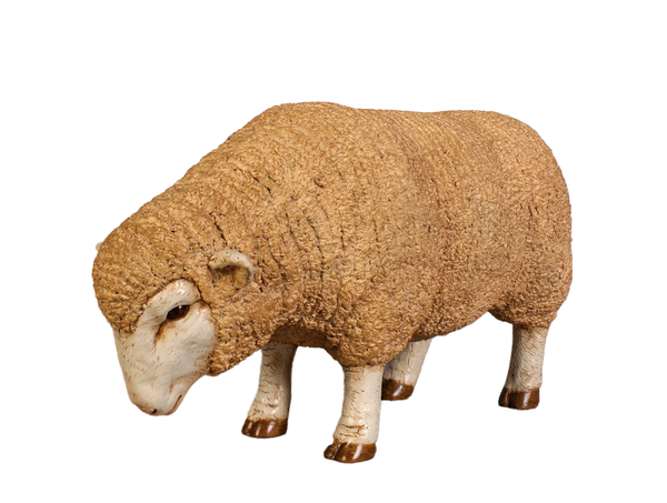 Baby Merino Ewe Head Down Life Size Statue - LM Treasures Life Size Statues & Prop Rental