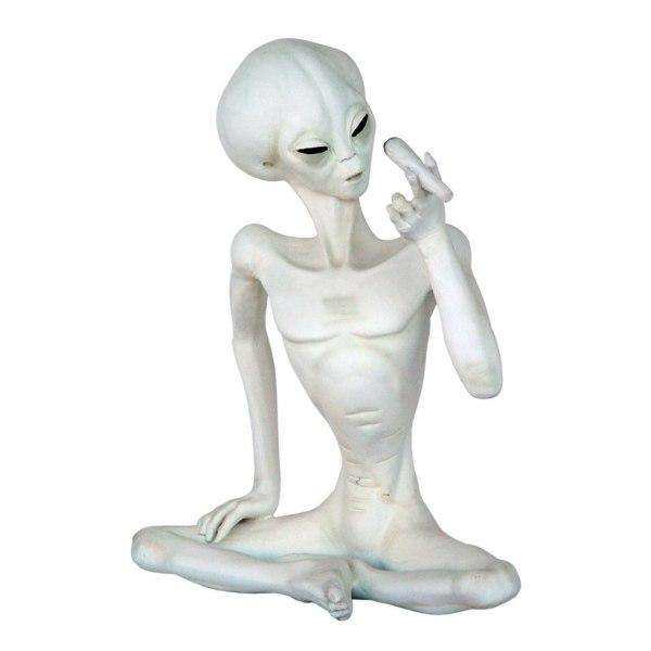 Alien Encounter Sitting With Cigar Space Statue Prop Decor Life Size Resin - LM Treasures