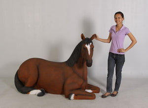 Brown Horse Resting Life Size Statue - LM Treasures Life Size Statues & Prop Rental