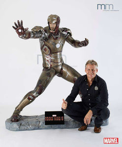 Iron Man 3 (Battle Version) with RDJ Head  Life Size Statue - LM Treasures