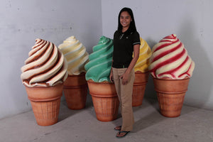 Soft Serve Strawberry Ice Cream Over Sized Statue - LM Treasures