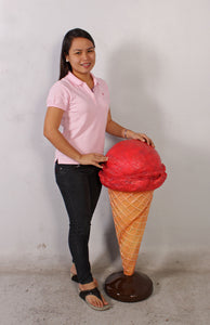 One Scoop Strawberry Ice Cream Over Sized Statue - LM Treasures Life Size Statues & Prop Rental