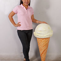 One Scoop Vanilla Ice Cream Over Sized Statue - LM Treasures Life Size Statues & Prop Rental