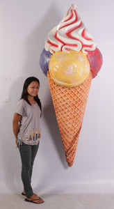 Hanging Three Scoop Ice Cream Over Sized Statue - LM Treasures