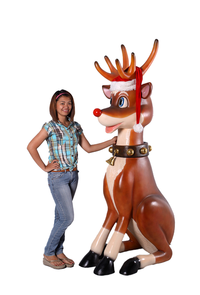 Large Funny Reindeer Sitting Over Sized Statue - LM Treasures Life Size Statues & Prop Rental