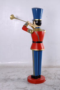 Red Trumpet Toy Soldier Life Size Christmas Statue - LM Treasures Life Size Statues & Prop Rental