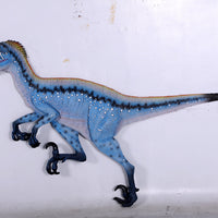 Blue Deinonychus Dinosaur Wall Decor Life Size Statue - LM Treasures