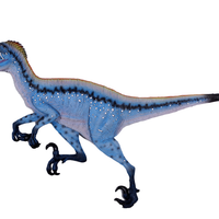 Blue Deinonychus Dinosaur Wall Decor Life Size Statue - LM Treasures Life Size Statues & Prop Rental