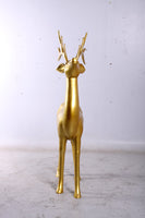 Gold Reindeer Standing Life Size Statue - LM Treasures Life Size Statues & Prop Rental