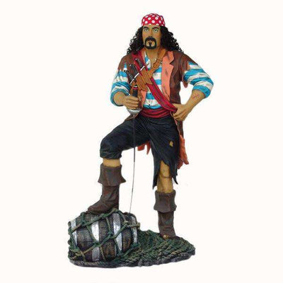 Pirate Captain With Barrel (Real Hair) Life Size Statue Resin Decor - Pre Owned - LM Treasures Life Size Statues & Prop Rental