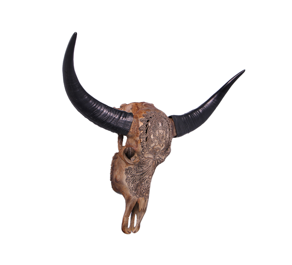 Bull Skull Life Size Statue - LM Treasures
