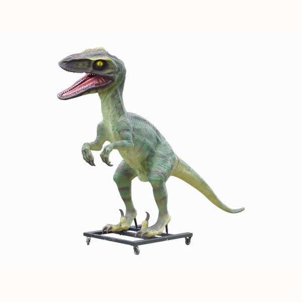 Green Raptor Dinosaur On Base Life Size Statue - LM Treasures