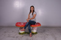 Red Large Double Mushroom Stool Over Sized Statue - LM Treasures Life Size Statues & Prop Rental