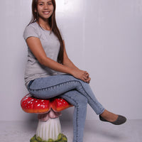 Red Single Split Mushroom Stool Over Sized Statue - LM Treasures