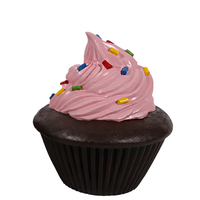 Pink Frosting Chocolate Cupcake Over Sized Statue - LM Treasures
