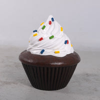 White Frosting Chocolate Cupcake Over Sized Statue - LM Treasures Life Size Statues & Prop Rental
