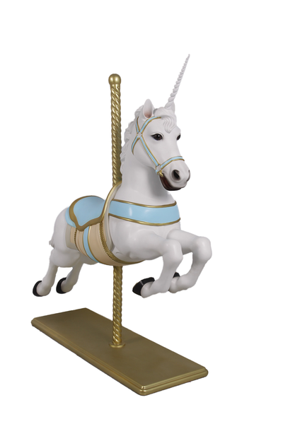 Blue Carousel Unicorn Life Size Statue - LM Treasures
