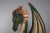 Large Green Dragon Sitting Life Size Statue - LM Treasures Life Size Statues & Prop Rental