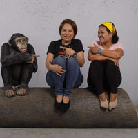 Monkey Chimpanzee On Trunk Life Size Statue - LM Treasures Life Size Statues & Prop Rental
