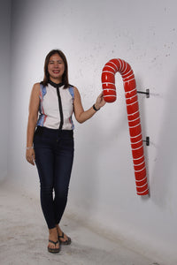 Hanging Red Candy Cane Over Sized Statue - LM Treasures Life Size Statues & Prop Rental