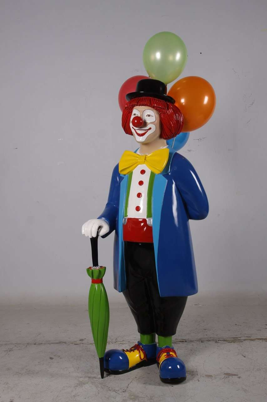 Clown With Balloons Life Size Circus Prop D̩cor Resin Statue - LM Treasures