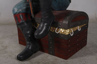 Pirate On Treasures Chest Life Size Statue - LM Treasures Life Size Statues & Prop Rental
