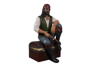 Pirate On Treasures Chest Life Size Statue - LM Treasures