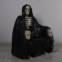Skeleton Wraith Reaper Throne Chair Halloween Prop Life Size Resin Decor Seat Statue - LM Treasures