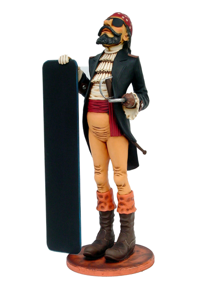 Pirate Holding Menu Board Life Size Statue - LM Treasures Life Size Statues & Prop Rental