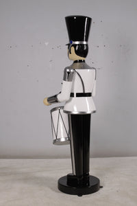 White Toy Soldier Drummer Life Size Christmas Statue - LM Treasures