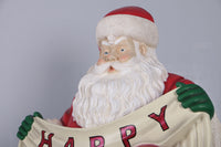 Santa Happy Holidays Photo Op Life Size Statue - LM Treasures