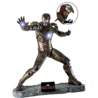 Iron Man 3 (Battle Version) with RDJ Head  Life Size Statue - LM Treasures Life Size Statues & Prop Rental