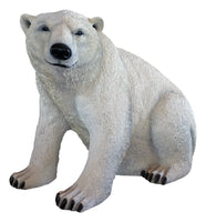 Polar Bear Sitting Life Size Statue - LM Treasures