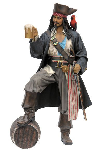 Pirate on Barrel Holding a Beer Life Size Statue - LM Treasures Life Size Statues & Prop Rental