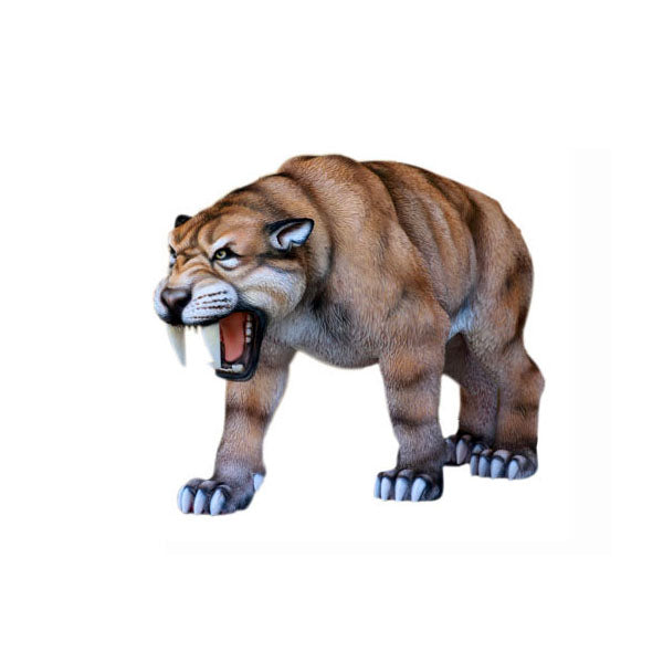 Saber Tooth Growling Life Size Statue - LM Treasures