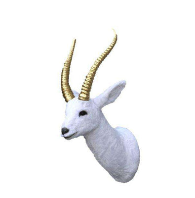 Gazelle Head Wall Mount White Forest Prop Life Size Decor Resin Statue- LM Treasures