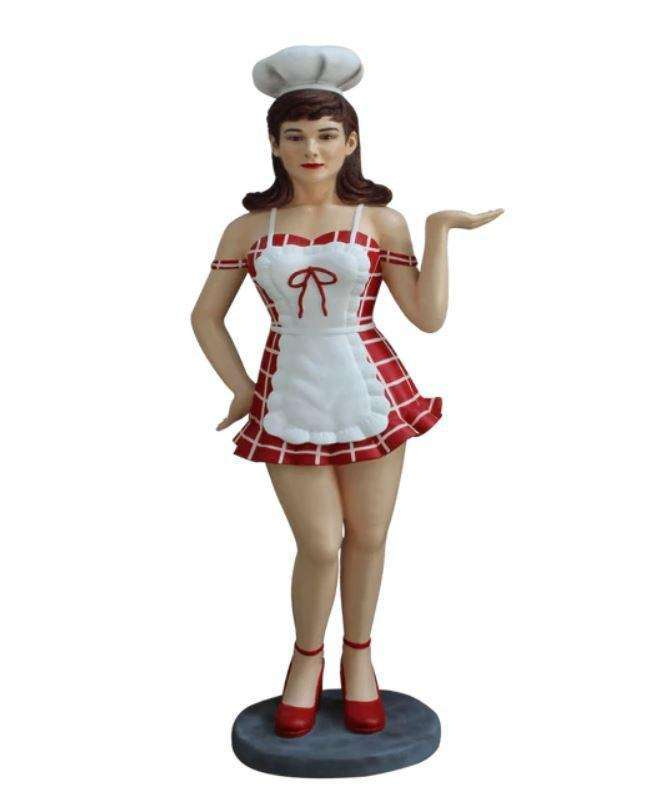 Waitress Lady Cook Brunette Life Size Restaurant Prop Decor Statue - LM Treasures Life Size Statues & Prop Rental