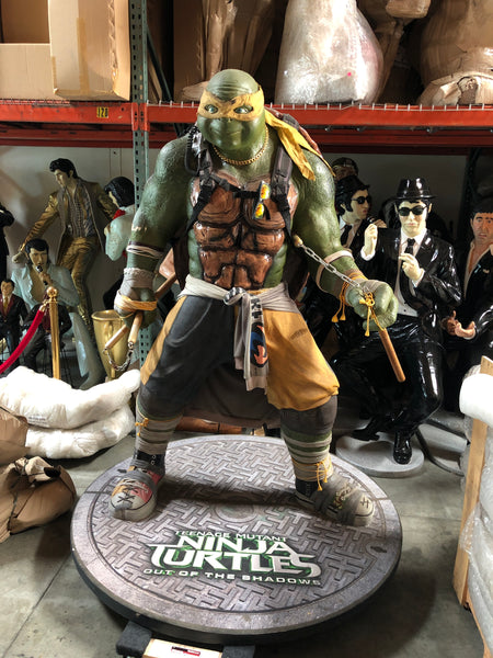 Rare Michelangelo Teenage Mutant Ninja Turtle Life Size Movie Theater Display Statue - LM Treasures Life Size Statues & Prop Rental