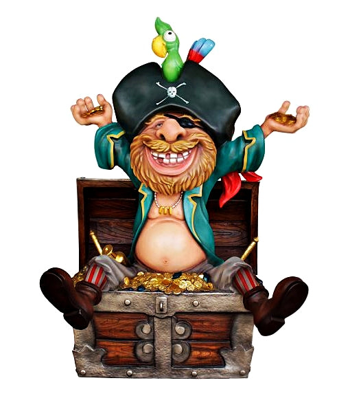 Comic Pirate in Treasure Life Size Statue - LM Treasures Life Size Statues & Prop Rental