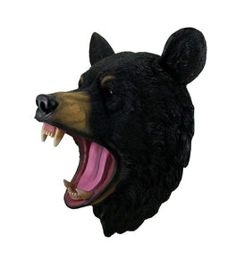 Black Bear Head Mouth Open Life Size Statue - LM Treasures