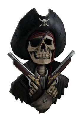 Pirate Skeleton With Guns Wall Decor Life Size Statue Resin Decor - LM Treasures Life Size Statues & Prop Rental