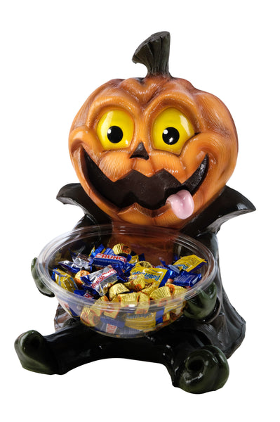 Candy Bowl Holder Halloween Cute Pumpkin Half Foam Licensed Statue - LM Treasures