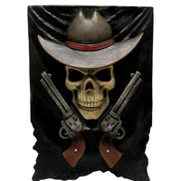 Skeleton Cowboy Wall Decor Statue - LM Treasures Life Size Statues & Prop Rental