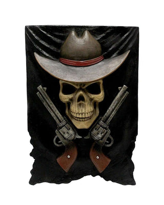 Cowboy Skeleton Shotgun Wall Decor Western Display Prop Decor Resin Statue - LM Treasures Life Size Statues & Prop Rental
