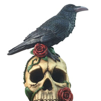Bird Raven On Skull Animal Prop Life Size Resin Statue- LM Treasures