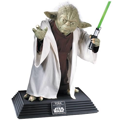 Star Wars Yoda Life Size Statue w/ Lightsaber - LM Treasures