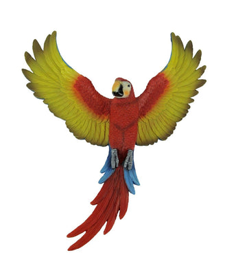 Bird Parrot Macaw Wings Open Wall Decor Red Animal Prop Resin Statue - LM Treasures Life Size Statues & Prop Rental