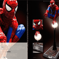 Spider Man on Light Post Life Size Statue w/ Working Light - LM Treasures
